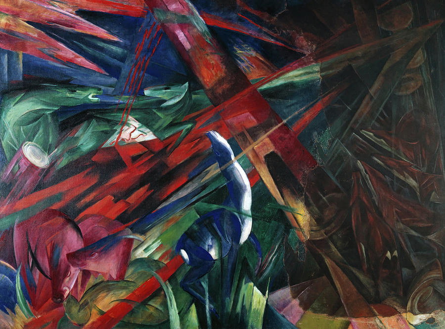 Franz Marc Painting - Animal Destinies, The Trees Showed Their Rings, The Animals Their Veins by Franz Marc