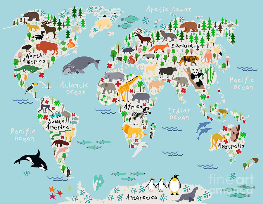 America Digital Art - Animal Map Of The World For Children by Moloko88