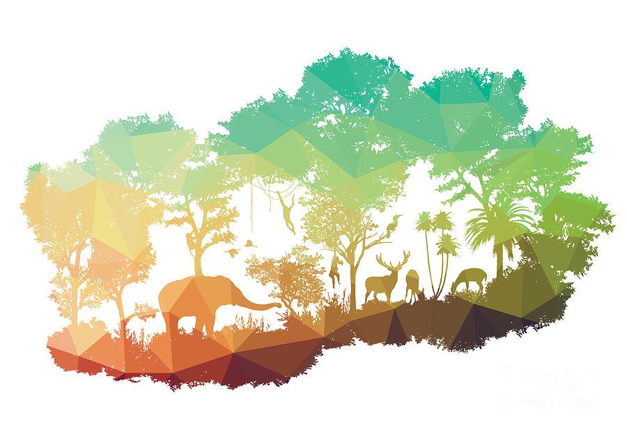 Deer Digital Art - Animal Of Wildlife Including Elephant by Ananaline