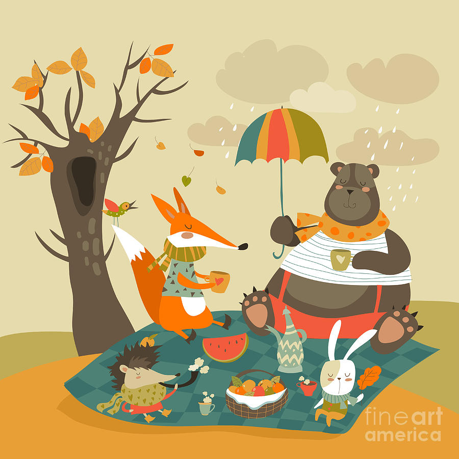 Basket Digital Art - Animals At Picnic In Autumnal Forest by Maria Starus
