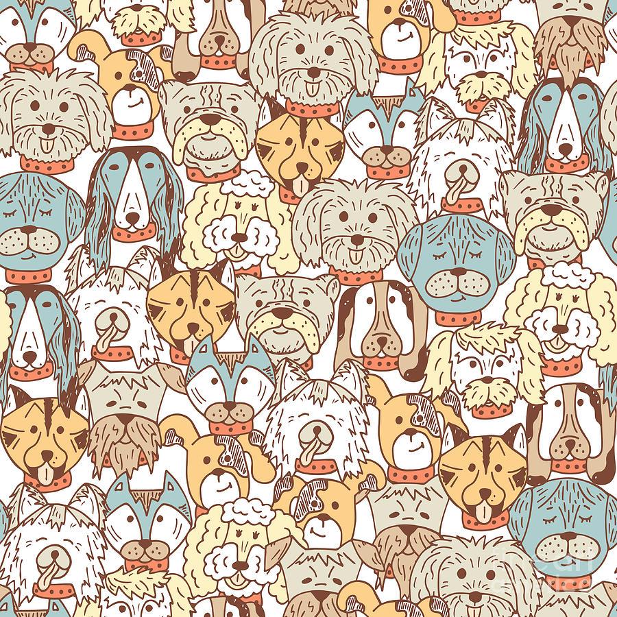 Mob Digital Art - Animals. Dogs Vector Seamless Pattern by Allnikart