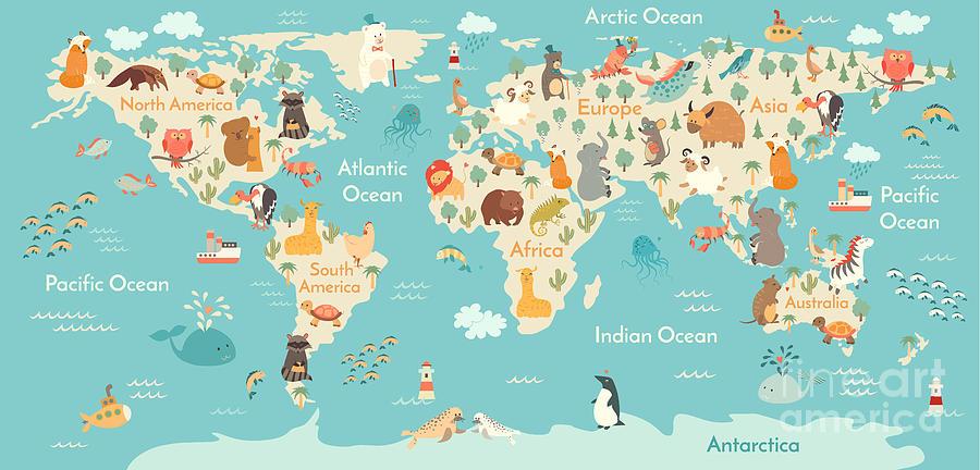 America Digital Art - Animals World Map For Children, Kids by Rimma Z