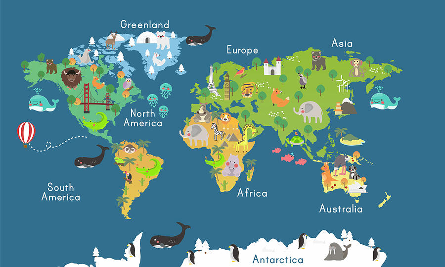 Animals World Map For Kids Room