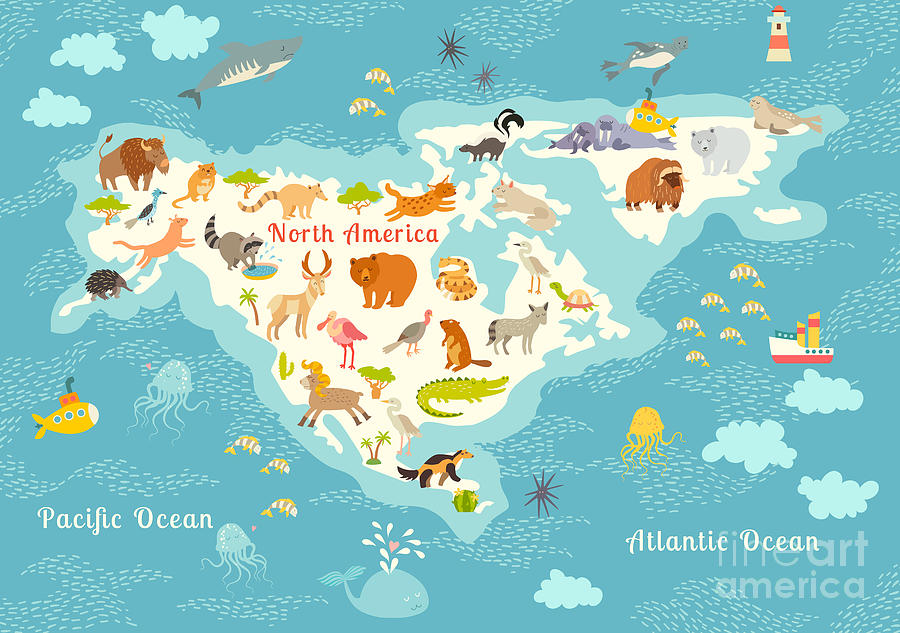 Grizzly Digital Art - Animals World Map, North by Rimma Z