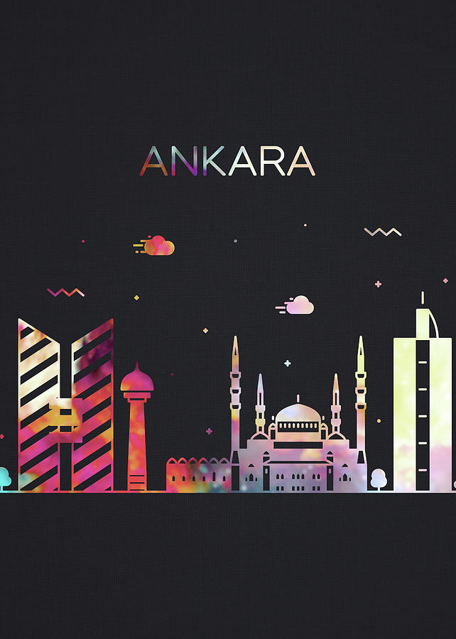 Ankara Mixed Media - Ankara Turkey City Skyline Whimsical Fun Dark Tall Series by Design Turnpike
