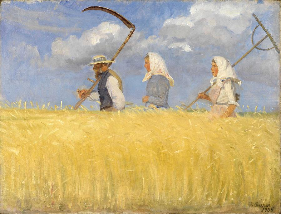 Harvest Painting - Anna Ancher - Harvesters by Celestial Images