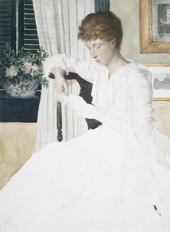 Girl Painting - Anna Dwight Weir Reading A Letter  Julian Alden Weir American, West Point, New York 1852-1919 New Y by Julian Alden Weir