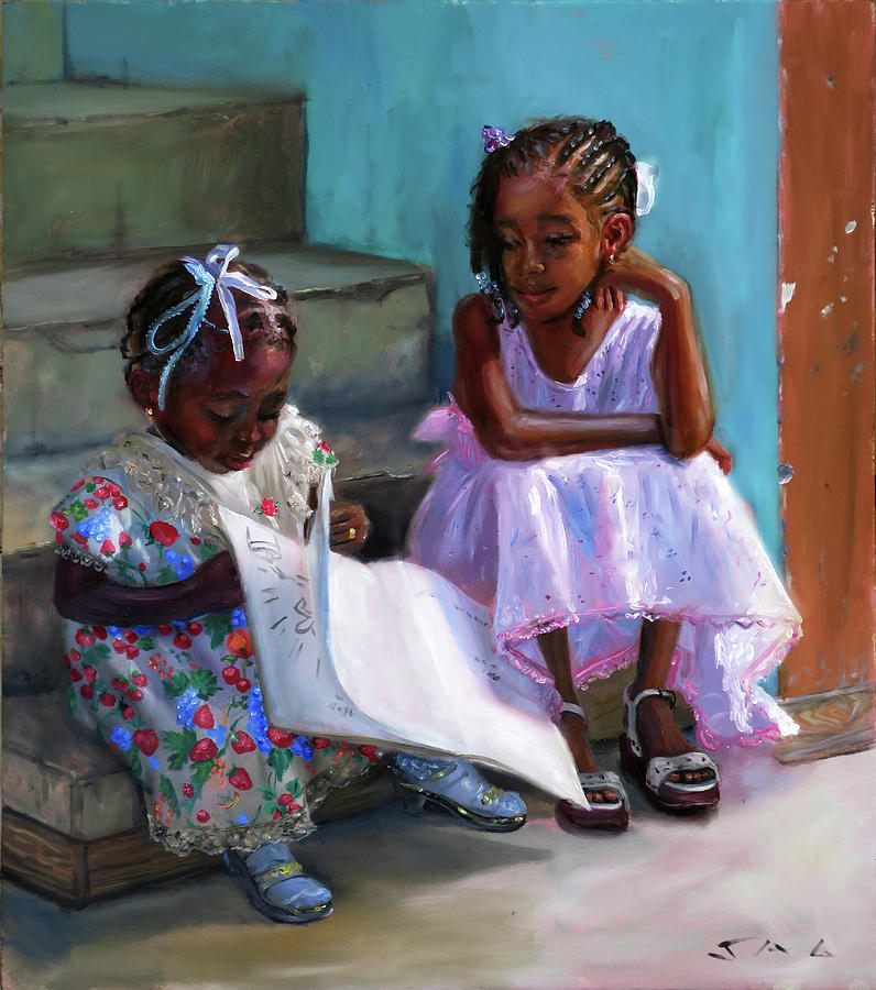 Children Painting - Anna-lisa And Danielle 2 by Jonathan Guy-Gladding JAG