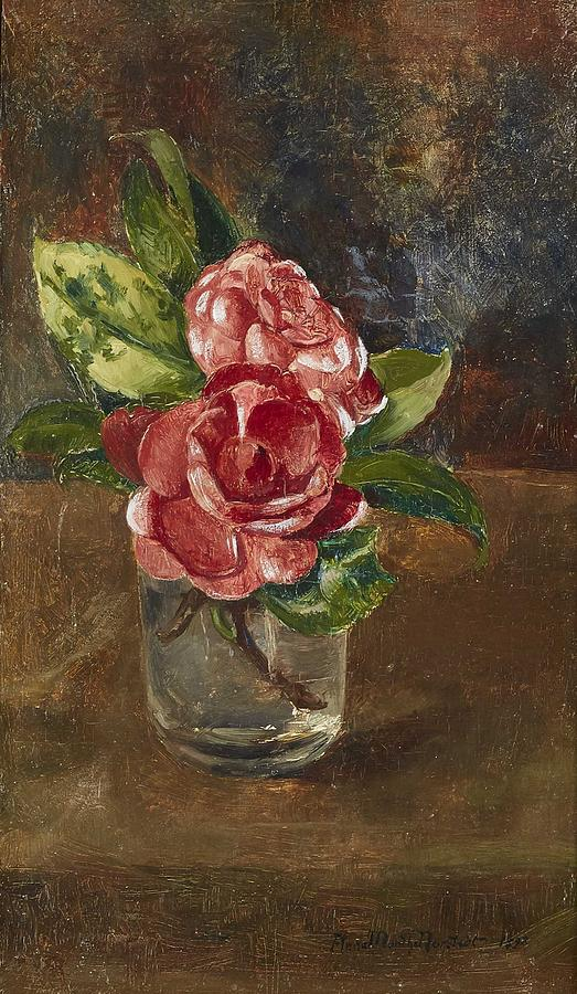 Flower Painting - Anna Munthe-norstedt 1854-1936 Roses In A Glass by Celestial Images