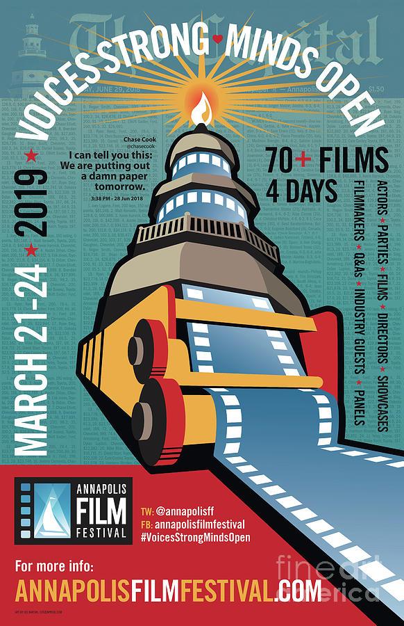 Freedom Of The Press Digital Art - Annapolis Film Festival 2019 Poster by Joe Barsin