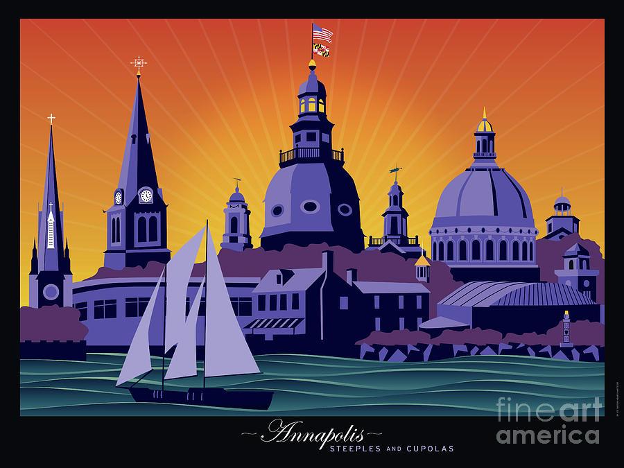 Annapolis Digital Art - Annapolis Steeples and Cupolas by Joe Barsin
