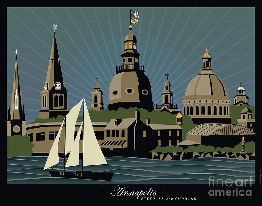 Annapolis Digital Art - Annapolis Steeples and Cupolas Serenity with border by Joe Barsin