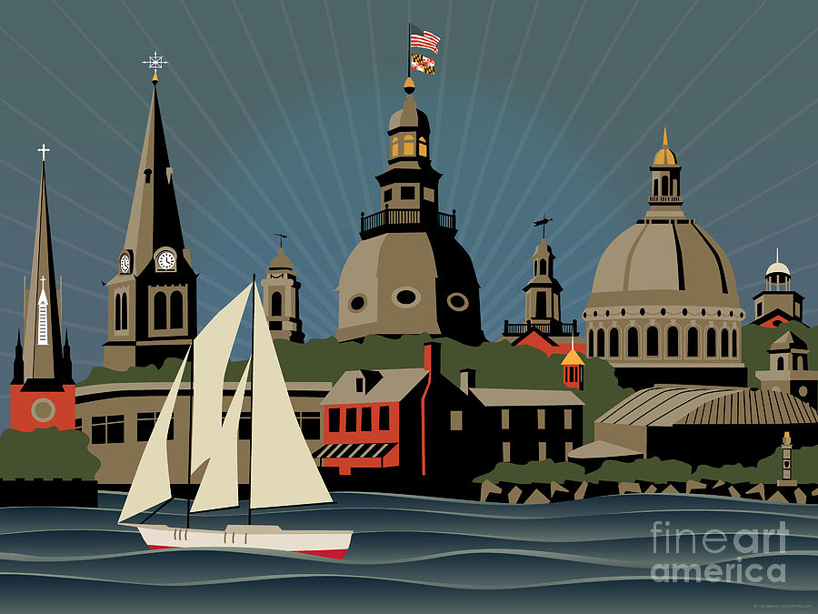 Annapolis Digital Art - Annapolis Steeples And Cupolas Skyline by Joe Barsin