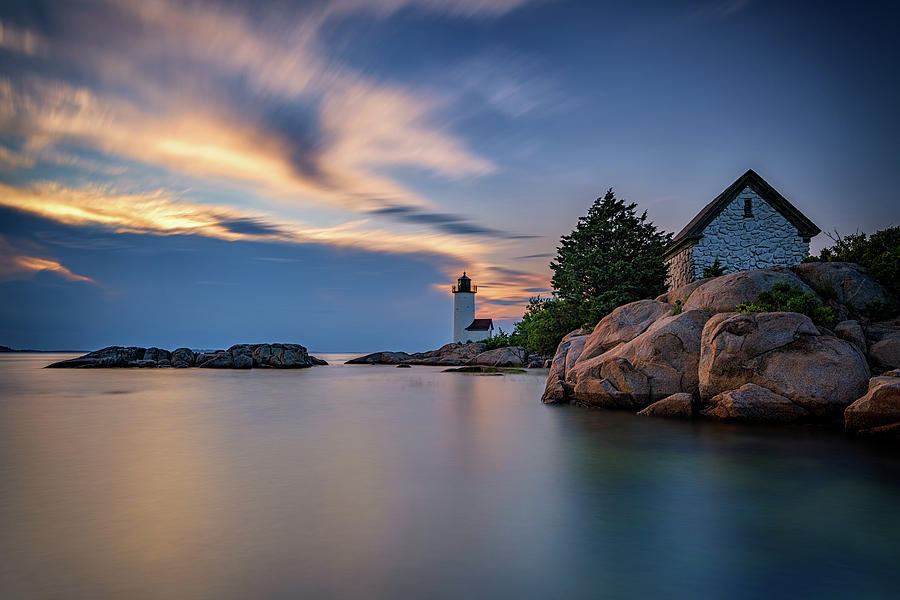 New England Photograph - Annisquam Lighthouse At Sunset by Rick Berk