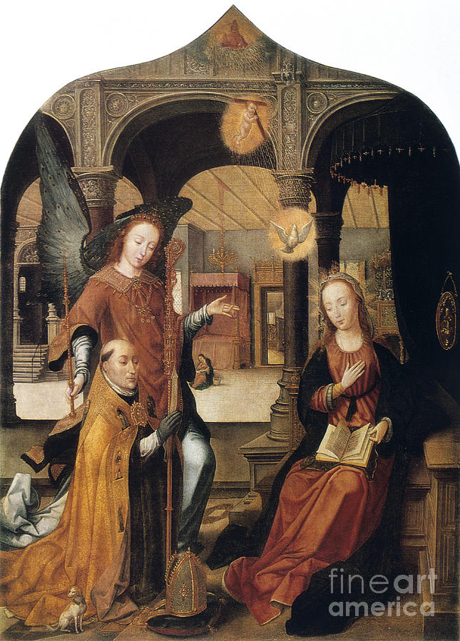 Annunciation, 1516-1517. Artist Jean Drawing by Print Collector