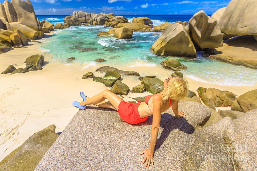 Anse Marron tourist woman by Benny Marty