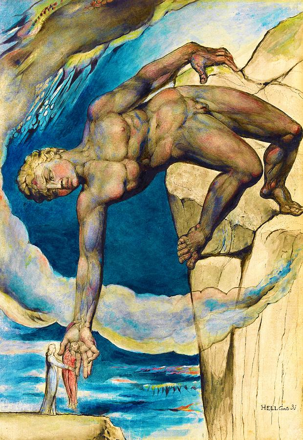 William Blake Painting - Antaeus Setting Down Dante And Virgil In The Last Circle Of Hell - Digital Remastered Edition by William Blake