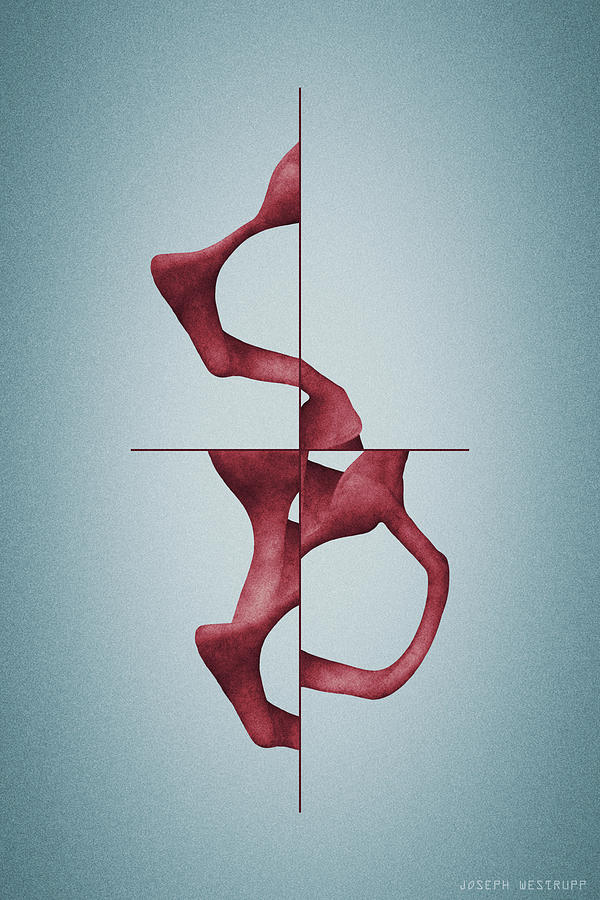 Antelucan Red - Abstract Shell With Cross by Joseph Westrupp