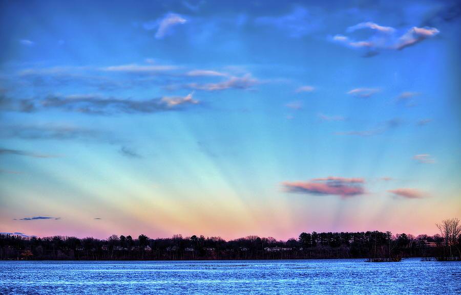 Anticrepuscular Rays Over Lake Wausau by Dale Kauzlaric