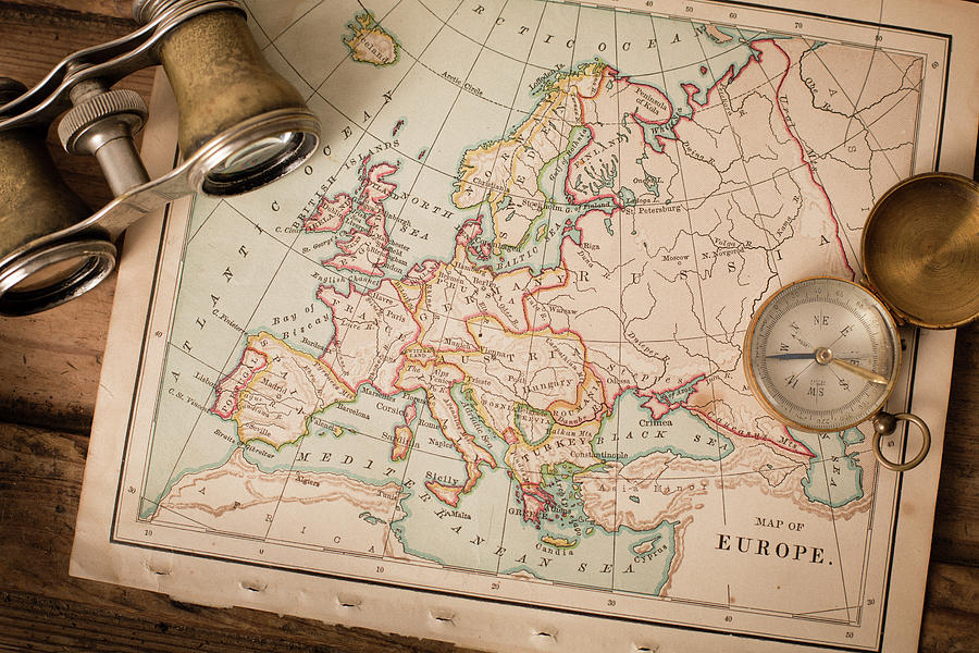 Antique 1870 Map Of Europe, Binoculars Photograph by Ideabug