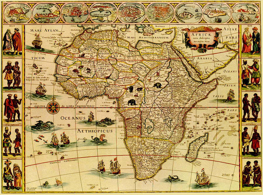 Antique Africa Map Digital Art by Nicoolay
