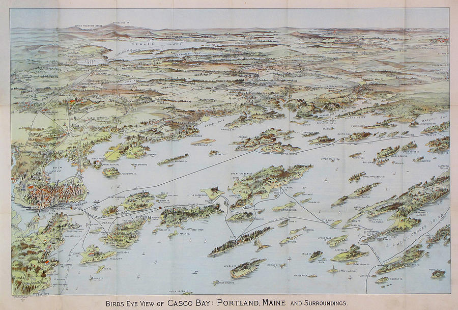 Antique Bird's Eye View Map Of Casco Bay, Portland, Maine - Old  Cartographic Map - Antique Maps