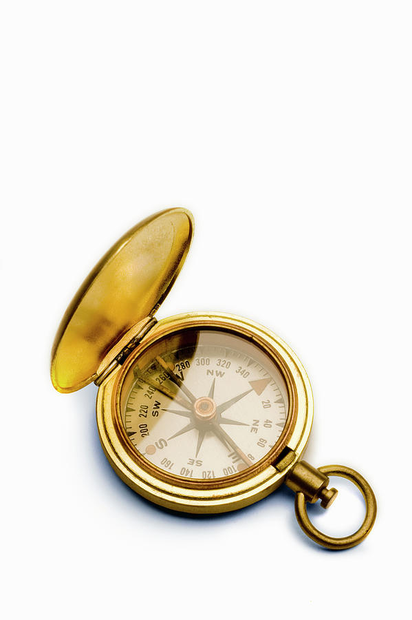 Antique Brass Compass Against White Photograph by Gary S Chapman