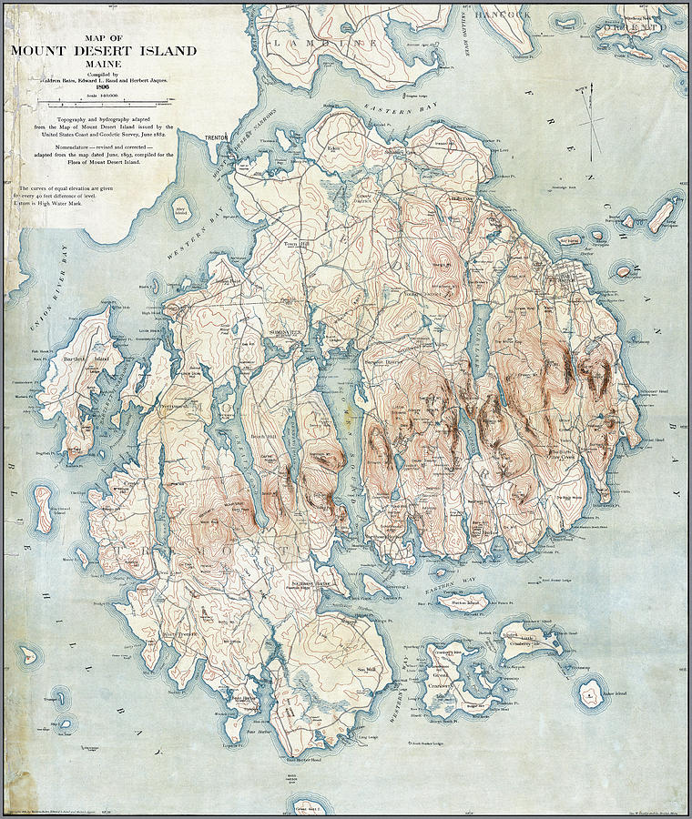 Antique color map of Mount Desert Island, Maine by Phil Cardamone