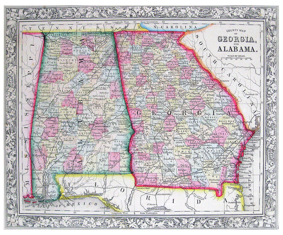 Map Of Georgia By County.Antique County Map Of Georgia And Alabama Old Cartographic Map Antique Maps By Siva Ganesh
