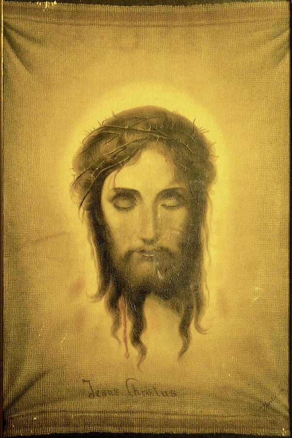 Antique drawing of Christ in Carmel Mission by RicardMN Photography