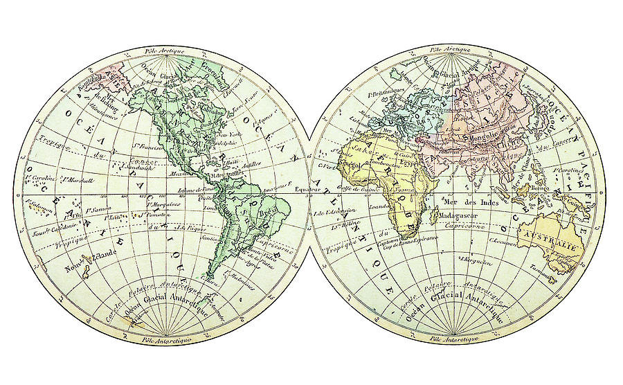 Antique Earth Map Digital Art by Ilbusca