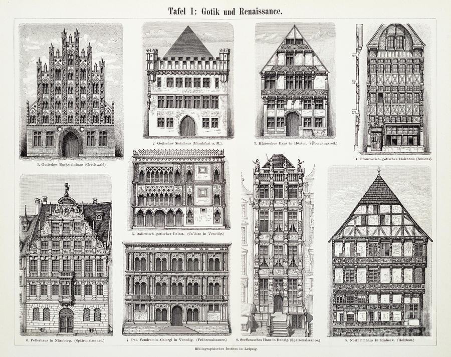Antique European Buildings Engraving Digital Art by Thepalmer
