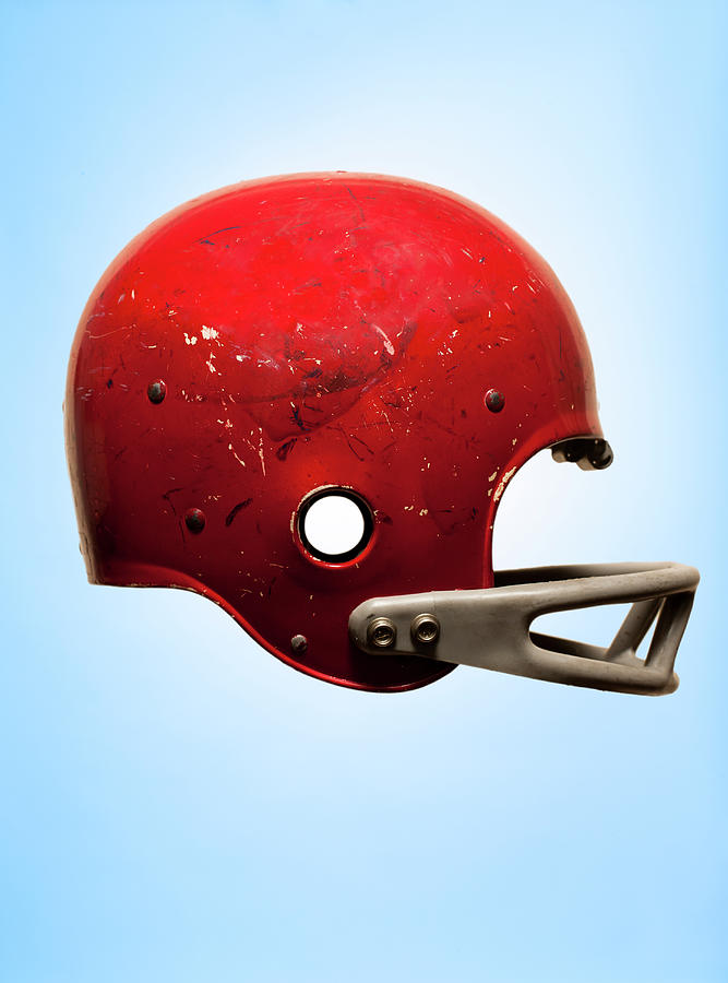 Antique Football Helmet On Blue Photograph by Chris Parsons