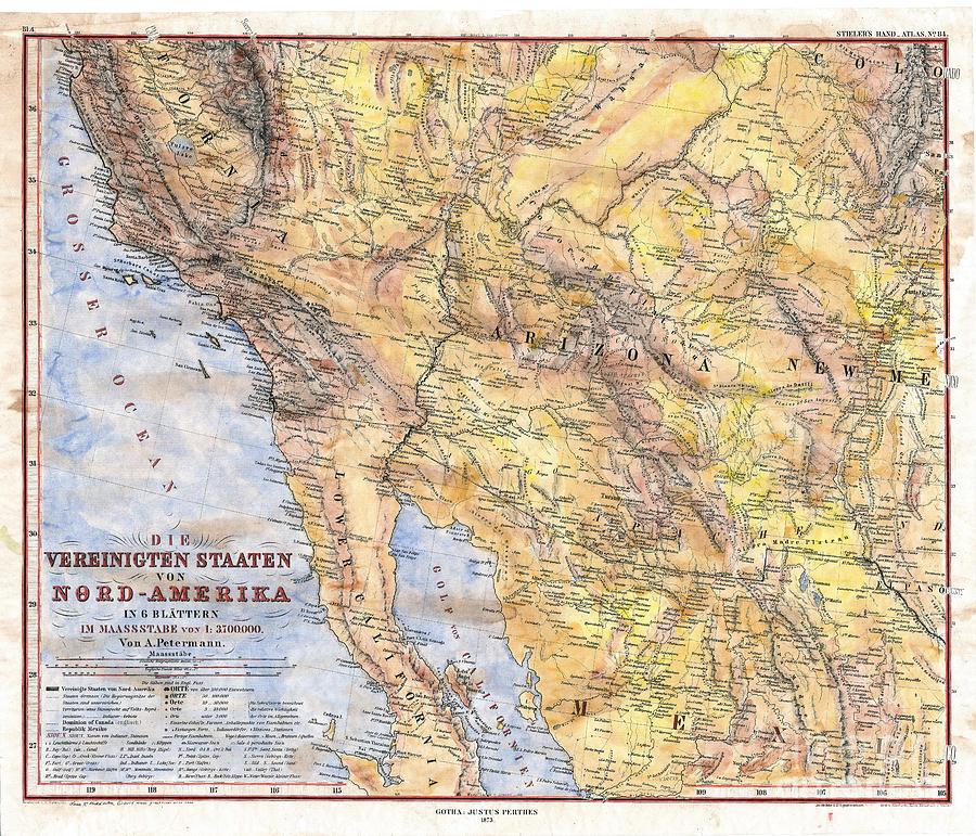 Antique Map Arizona Baja California New Mexico Southwest Hand ...