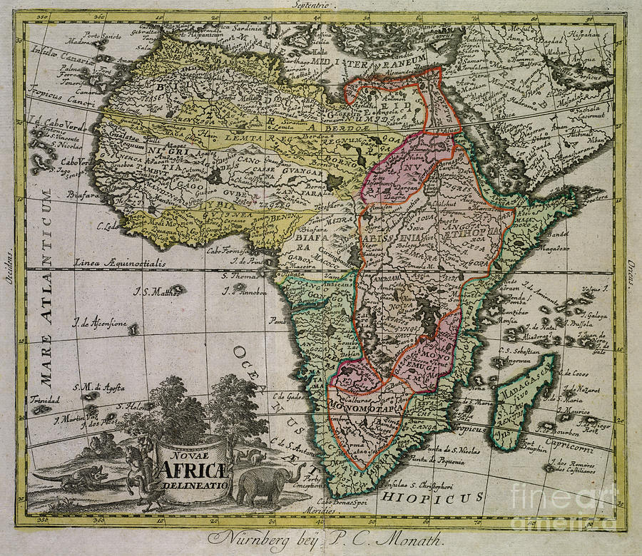 Antique map of Africa by Peter Conrad Monath