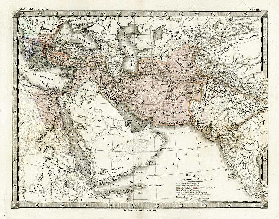 Antique Map Of Alexander The Greats Digital Art by Duncan1890