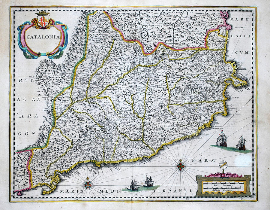 Map Of Spain Old.Antique Map Of Catalonia Community Of Spain Old Cartographic Map Antique Maps By Siva Ganesh