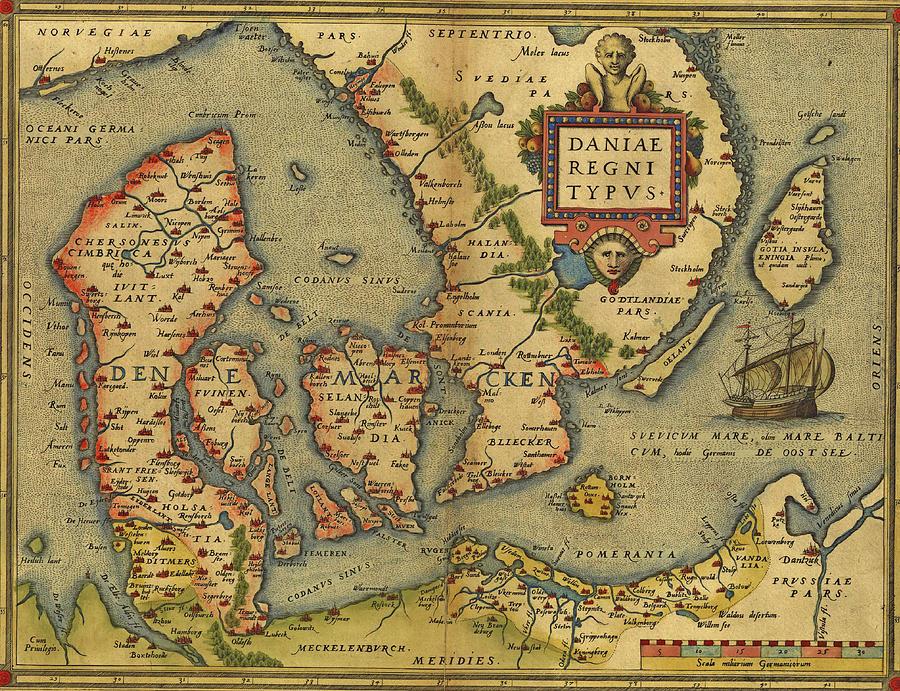 Antique Map of Denmark by Steve Estvanik