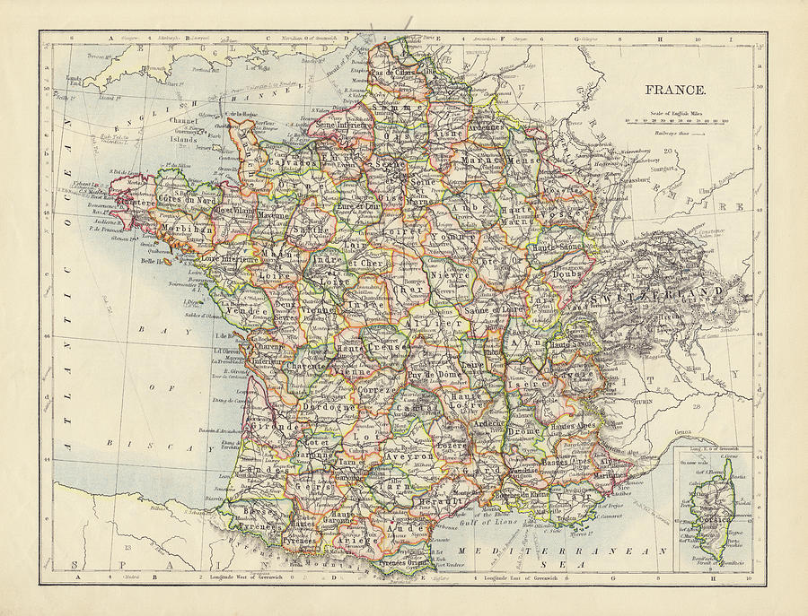 Antique Map Of France Photograph by Nickfree