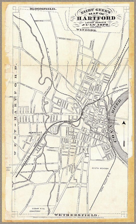 Antique Map of Hartford 1872 by Phil Cardamone
