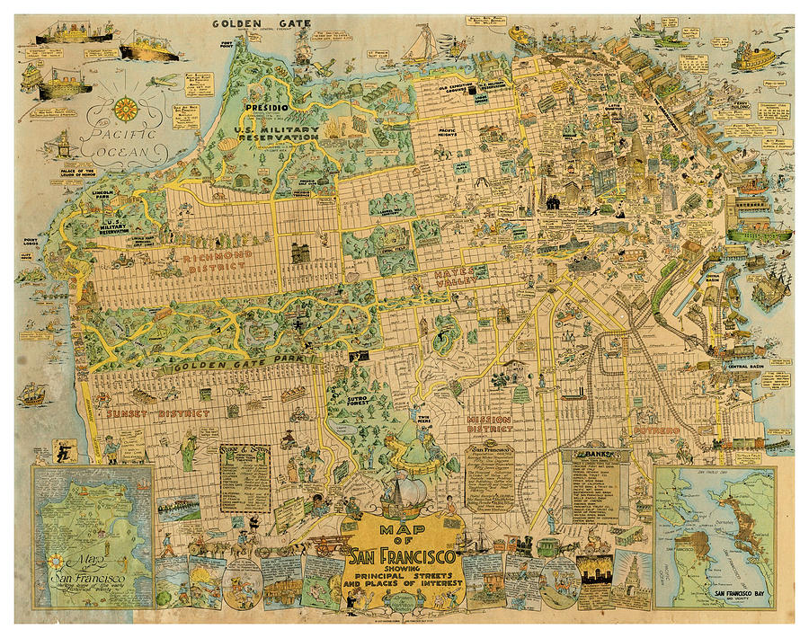 San Francisco Antique Vintage Pictorial Map