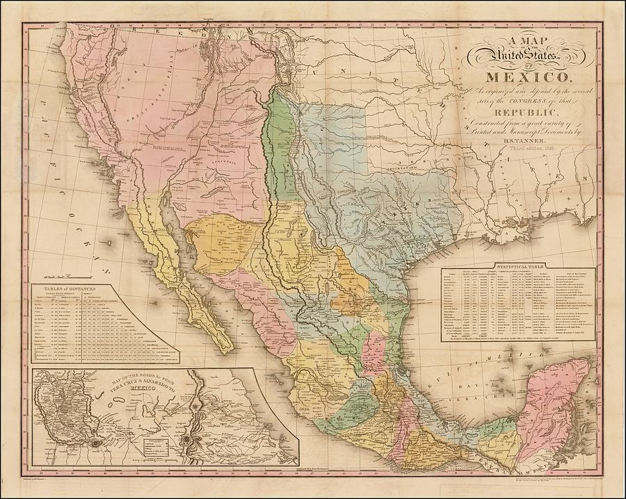 Antique Map Of The United States Of Mexico - Old Cartographic Map - Antique  Maps