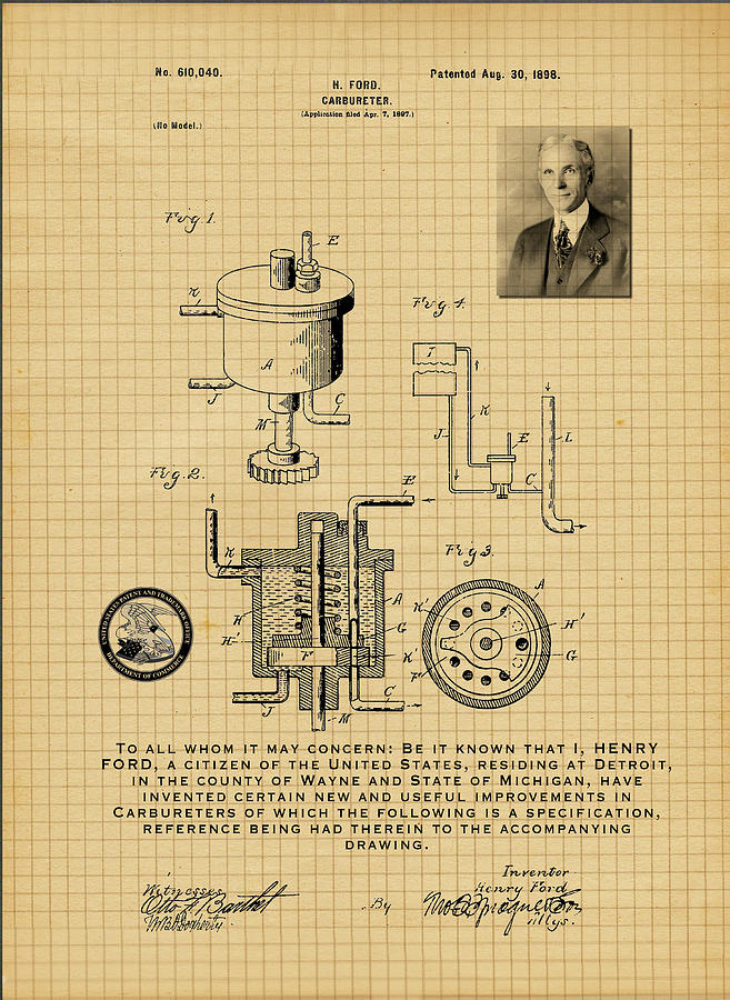 Antique Patent Drawing Henry Ford Carbureter 1898 by Carlos Diaz