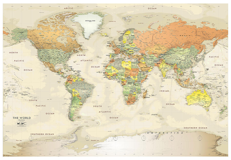 Antique Political Map Of The World Old Cartographic Map Antique Maps Digital Art By Siva Ganesh