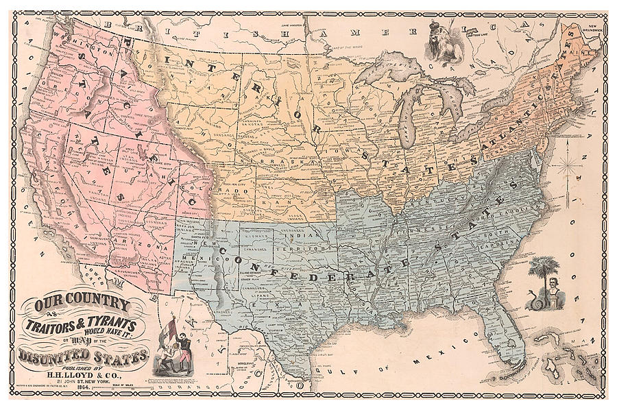 Antique Propaganda Map Of United States - Old Cartographic Map - Antique  Maps