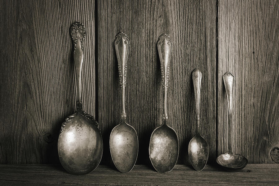Antique Silver Spoons by Tom Mc Nemar