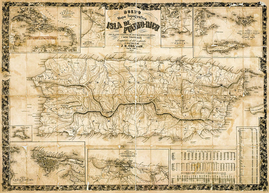 Antique topographical map of Puerto Rico 1863 while under Spanish rule. by Phil Cardamone