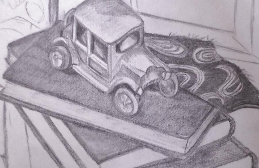 Antique Toy Car Sitting On Books Drawing