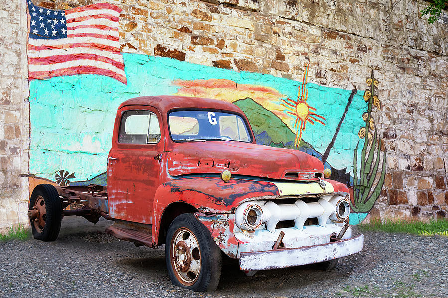 Antique Truck and American Flag by Lisa Malecki
