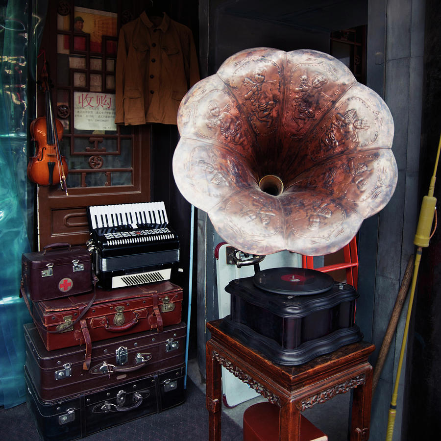 Antique Victrola In Panjiayuan Flea Photograph by Design Pics / Keith Levit